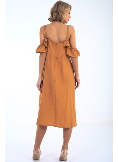 Emjey Askılı Yaka Farbalı Cepli Elbise Taba